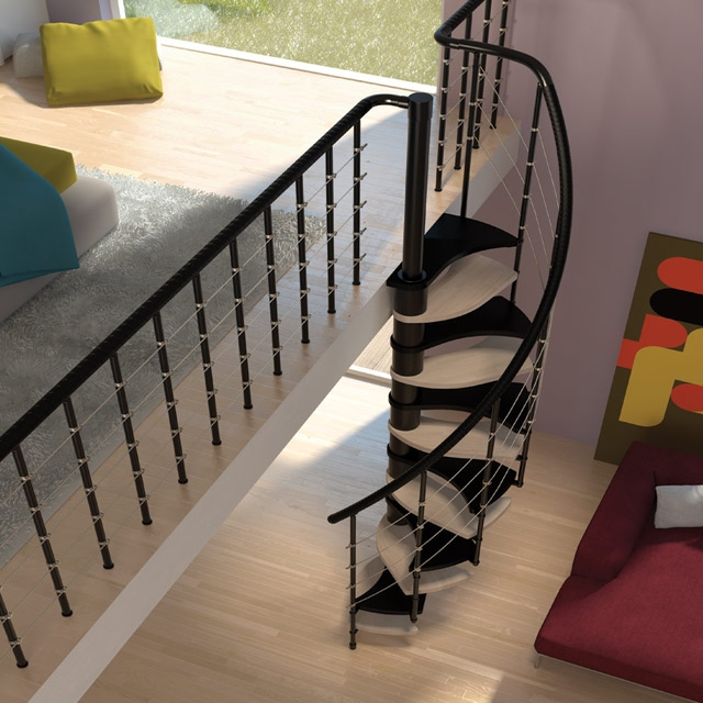 Space Saver Spiral Staircase Type Trio 180° L00L Stairs | Types Of Spiral Staircase | Staircase 2 | Detail | Living Room | German | Helical Staircase