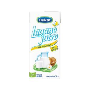 Mlijeko trajno Lagano jutro 0% m.m. 1L, Dukat