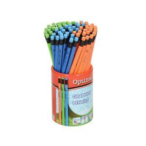 Olovke grafitne HB Optima trokutaste s gumicom u čaši 72kom