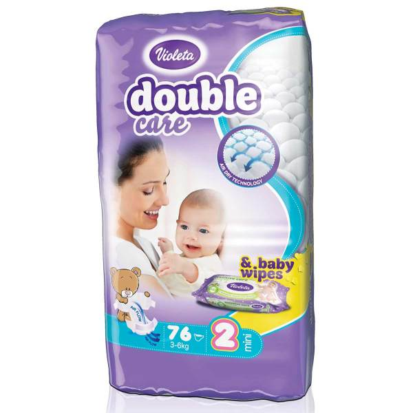 Violeta Double Care Air Dry Pelene, vel.2(Mini) 3-6kg 76/1