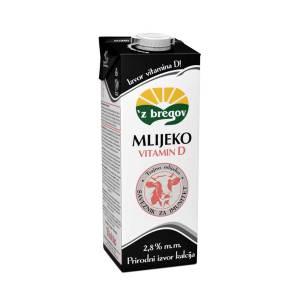 Mlijeko 'z bregov 2,8% m.m. s vitaminom D 1L, Vindija