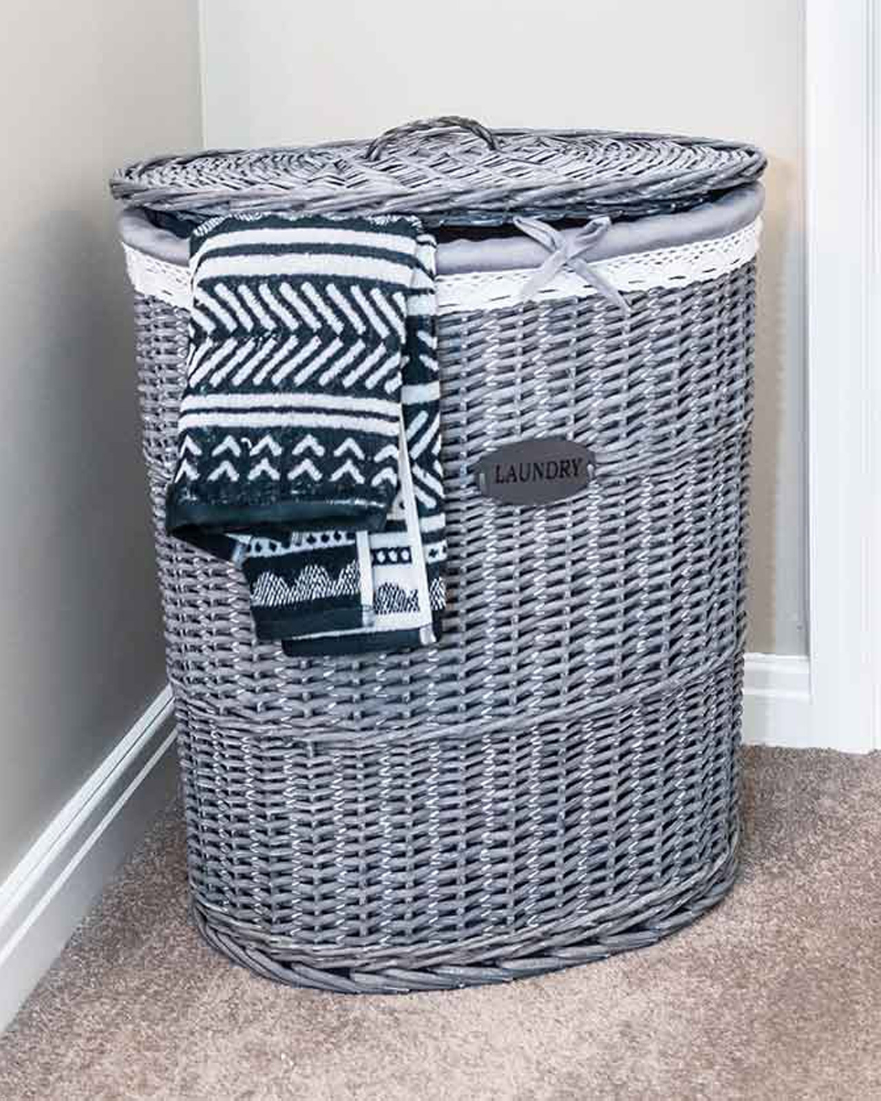 Medium Grey Laundry Basket Ebay