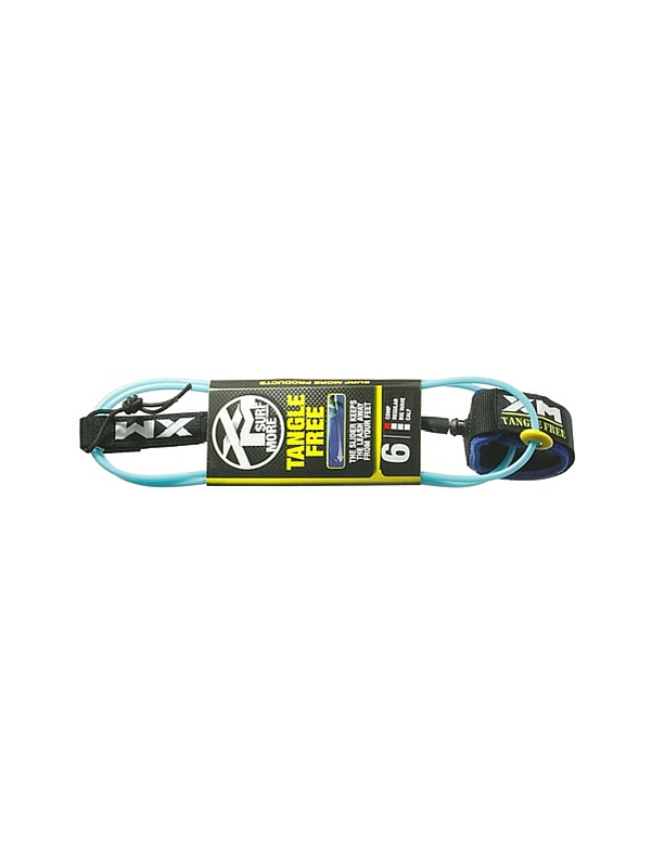 XM TANGLE FREE DOUBLE SWIVEL COMPLITE 6′ LIGHT BLUE SURF LEASH