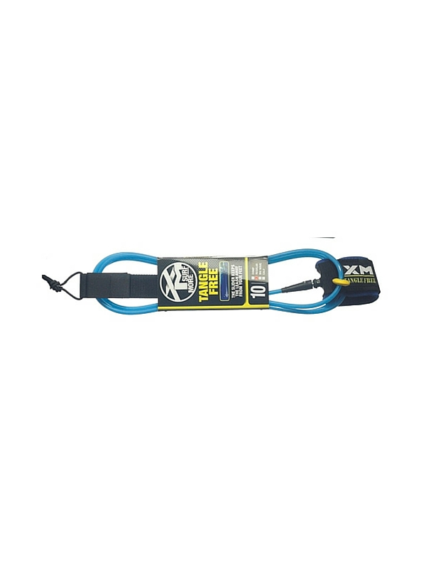 XM TANGLE FREE REGULAR DOUBLE SWIVEL 10' BLUE SURF LEASH