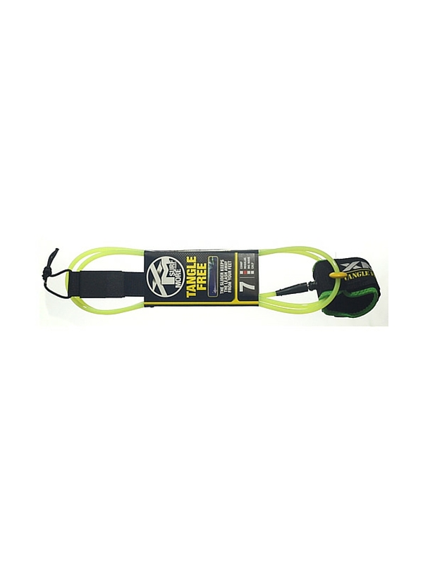 XM TANGLE FREE REGULAR DOUBLE SWIVEL 7' LIME GREEN SURF LEASH