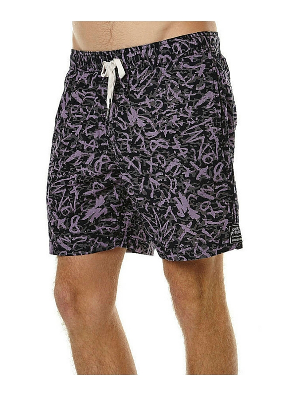 QUIKSILVER GHETTO BOOGIE ELASTIC BEACH SHORT - ANTHRACITE