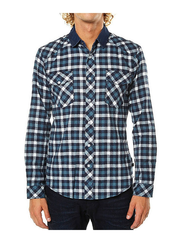 ST GOLIATH SHELTERED LS MENS SHIRT - GREEN NAVY