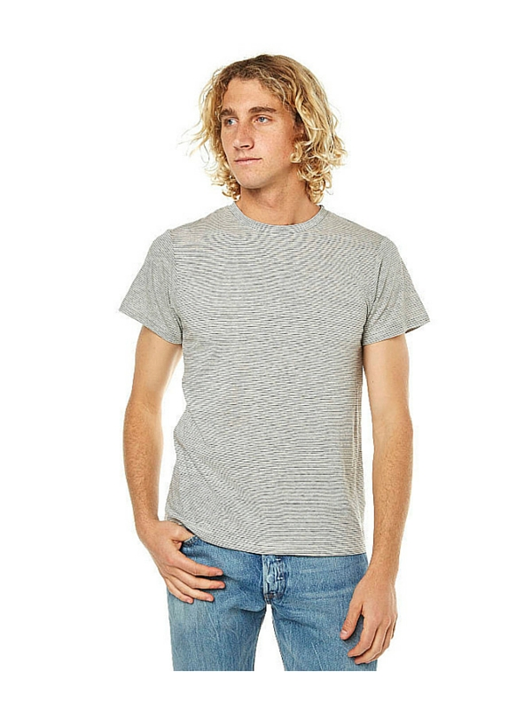 WEATHERED ETON STRIPE MENS T SHIRT - GREY BLACK