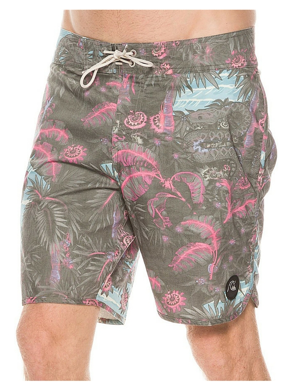 QUIKSILVER PYTHON JUNGLE SCALLOP BOARDSHORT - BLACK