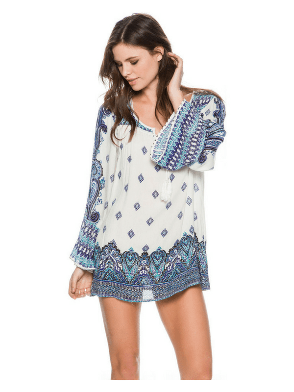 ANGIE PRINTED TIE FRONT TOP