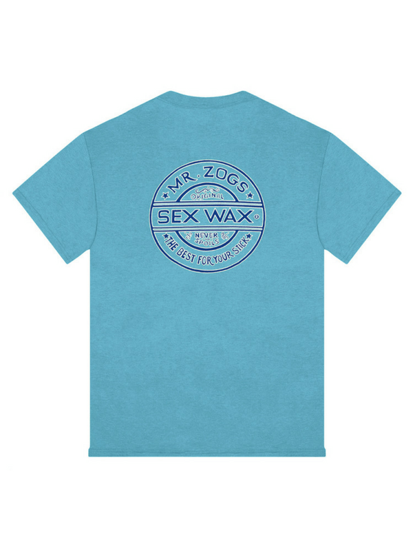 SEX WAX PINSTRIPE T SHIRT LAGOON BLUE