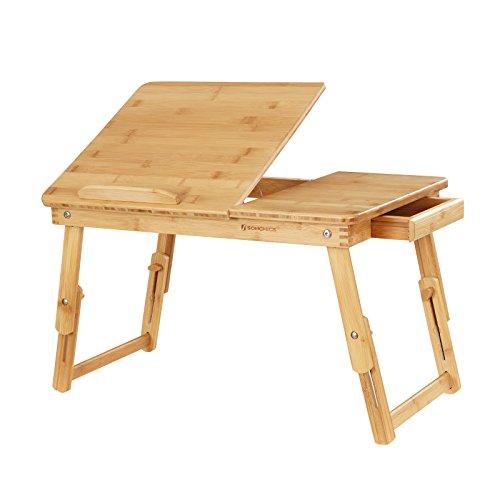 Bamboo Bed Tray Folding Leg Portable Breakfast Adjustable Table