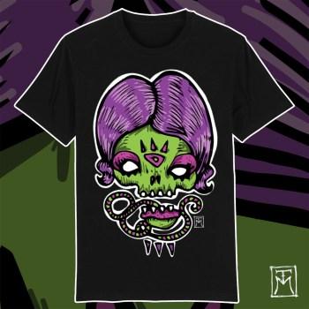 Purp[;e Lady Skull T-Shirt