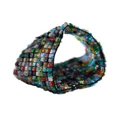 multi colored square beaded bracelet 508 1