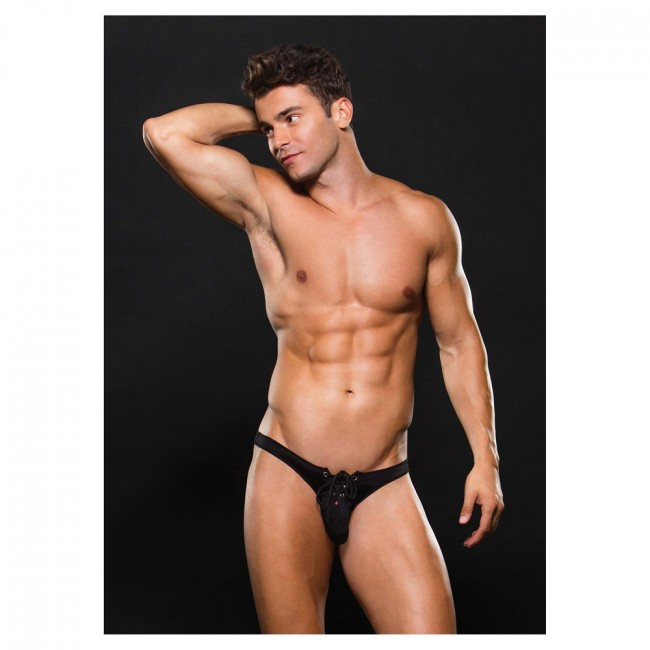 Envy Microfibre Low Rise Lace Up Thong Black