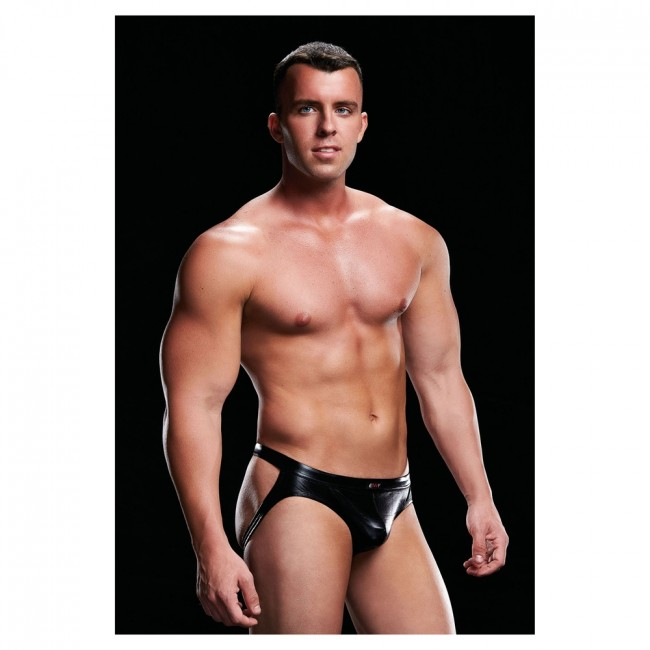 Wet Look Envy Low Rise Jock Black