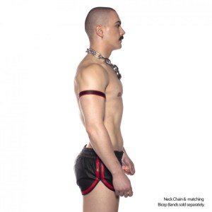 Prowler RED Leather Sports Shorts Black/RED