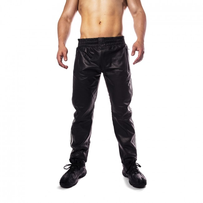 Prowler RED Leather Joggers Black/White
