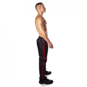 Prowler RED Leather Joggers Black/Red