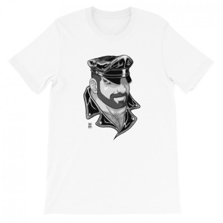 ADAM LIKES LEATHER HAT BLACK AND WHITE T-SHIRT