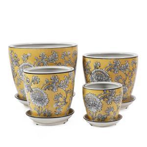 Rnd Pot with saucer Wild Blossom Porcelain
