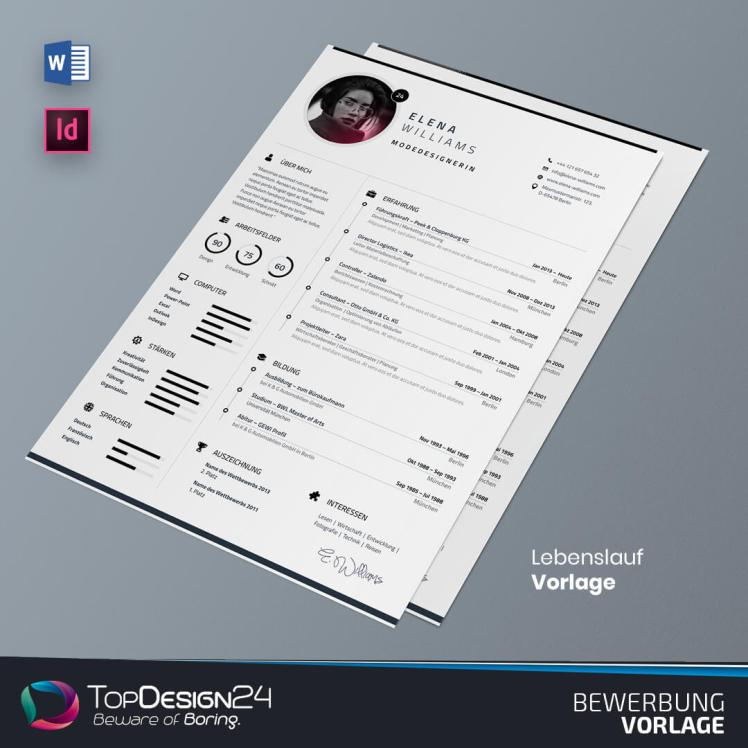 Lebenslauf Design word TopDesign24