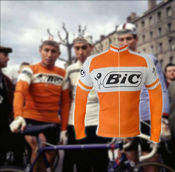 maillot cycliste vintage bic manches longues