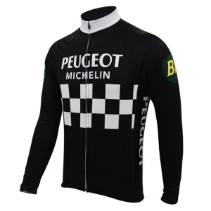 maillot cycliste vintage peugeot manches longues