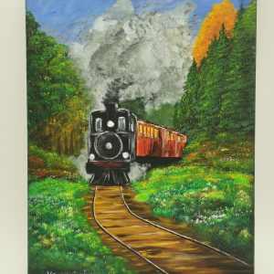 Gőzmozdony akril festmény 30x40