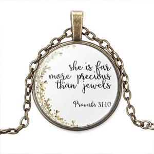 She is more precious than jewels bible verse necklace