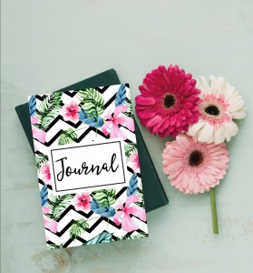 chevron floral journal