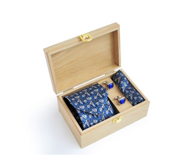 SILK TIE SET – BLUE FLORAL