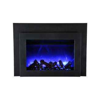 26 Small Insert Electric Fireplace with Black Glass Surround