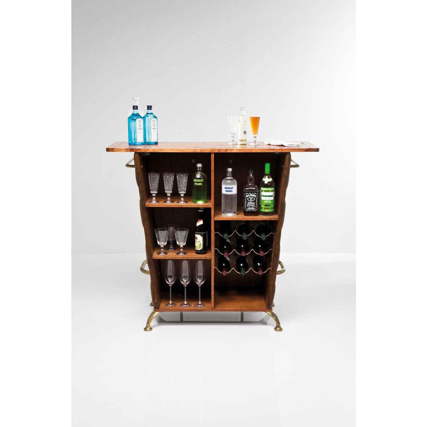 Hjemmebar I Vintage Stil Lille Kompakt Bar I Trae Og Laederlook
