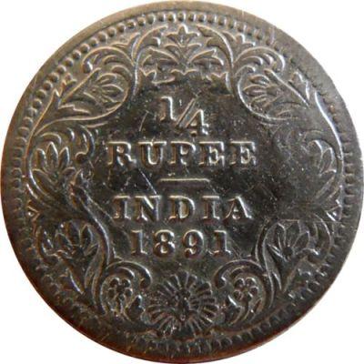 1891 1/4 Quarter Rupee Queen Victoria Empress Calcutta Mint
