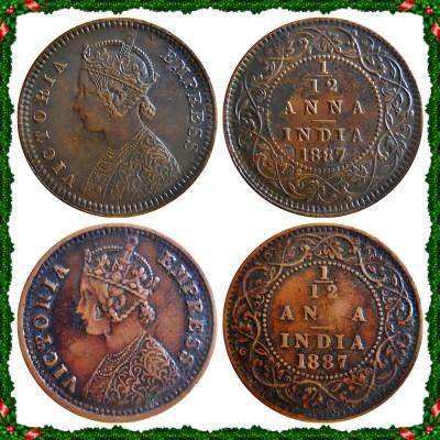 1887 1/12 One Twelve Anna British India Queen Victoria Empress