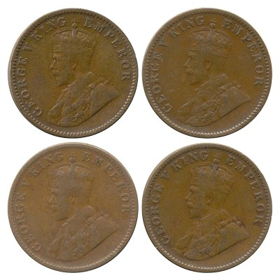 1936 1/4 One Quarter Anna George V King Emperor Calcutta Mint