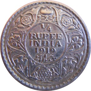 1919 1/4 Quarter Rupee George V King Emperor Calcutta Mint