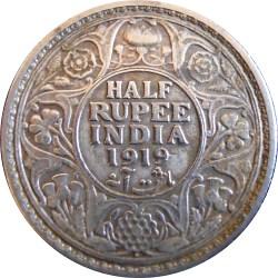 1919 1/2 Half Rupee George V King Emperor Bombay Mint