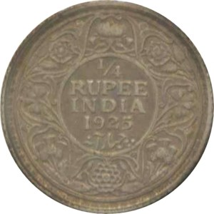 1925 1/4 Quarter Rupee George V King Emperor Bombay Mint