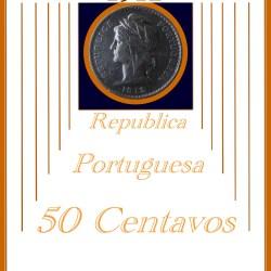 50 CENTAVOS Portugal, Republica 1912 Rare Silver coin