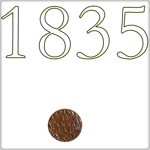 1835 1/12 One Twelve Anna East India Company - RARE COIN