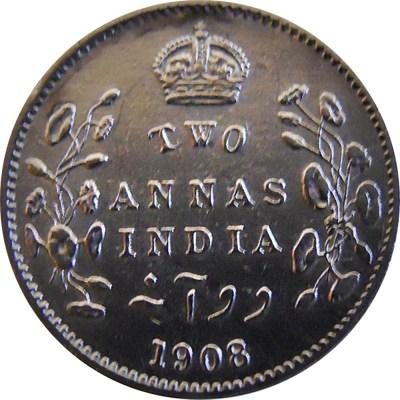 1908 2 Two Annas Edward VII King Emperor - Calcutta Mint - RARE