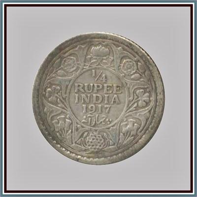 1917 1/4 Quarter Rupee George V King Emperor - Calcutta Mint - RARE