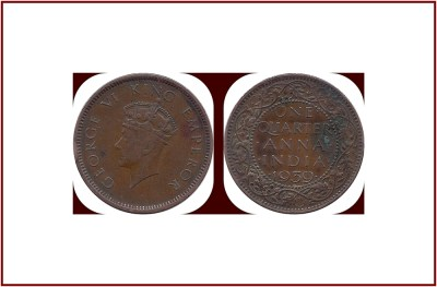 1939 One Quarter Anna George VI Emperor Calcutta Mint - Best Buy