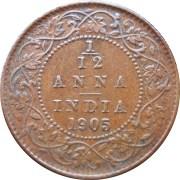 1905 1/12 One Twelve Anna Edward VII King Emperor Calcutta Mint - RARE COIN
