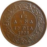 1908 1/12 One Twelve Anna Edward VII King Emperor - Calcutta Mint - RARE