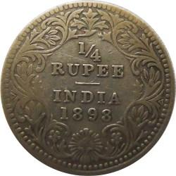Queen Victoria Silver 1862 Quarter Rupee RARE