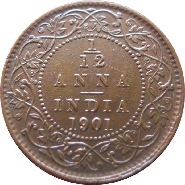1901 1/12 One Twelve Anna Queen Victoria Empress - Calcutta Mint -RARE