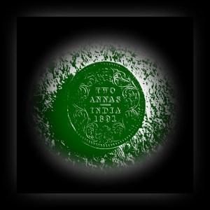 1891 2 Annas Queen Victoria Empress Silver Coin Calcutta Mint - RARE